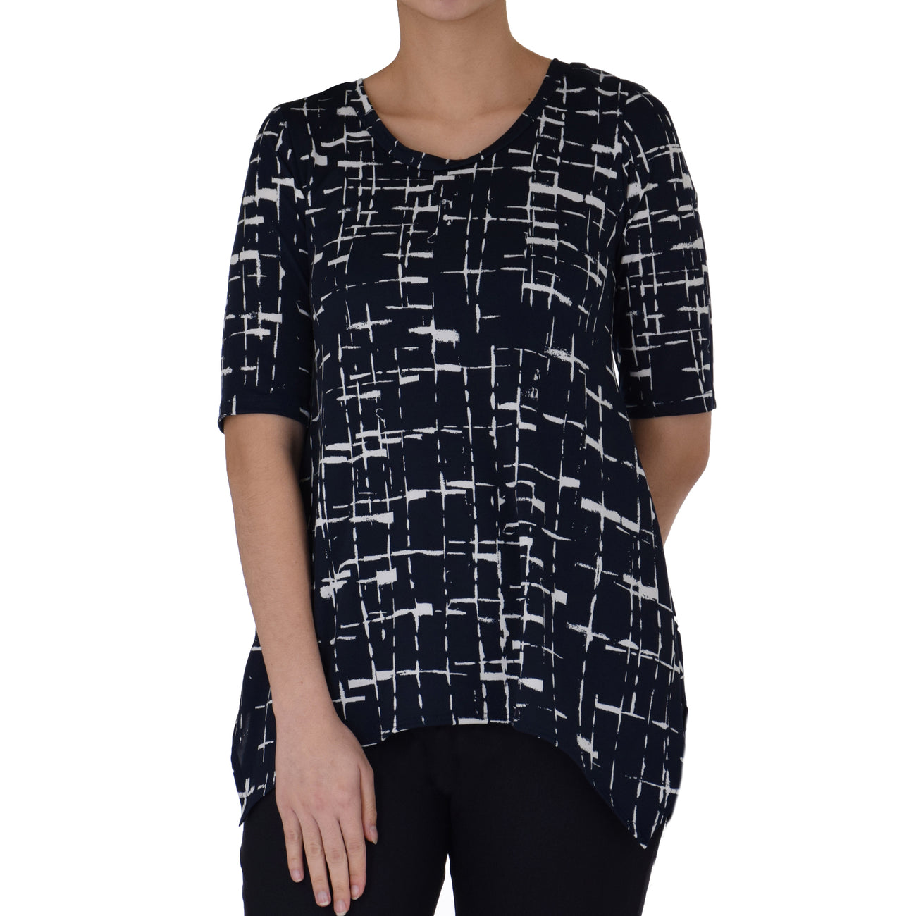ALOHI ASYMMETRICAL KNIT TUNIC 1/2 SLEEVE