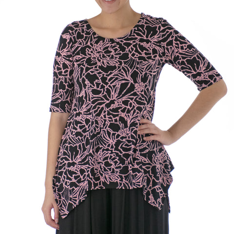 CAMELIA ASYMMETRICAL KNIT TUNIC 1/2 SLEEVE