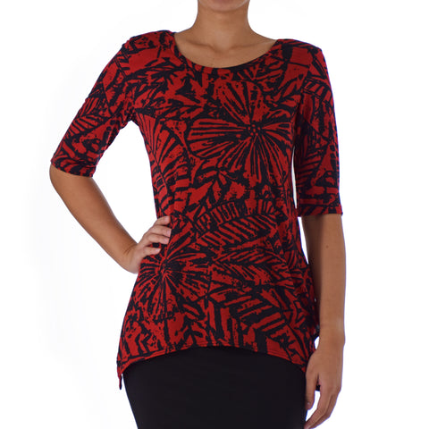 KALA ASYMMETRICAL KNIT TUNIC 1/2 SLEEVE