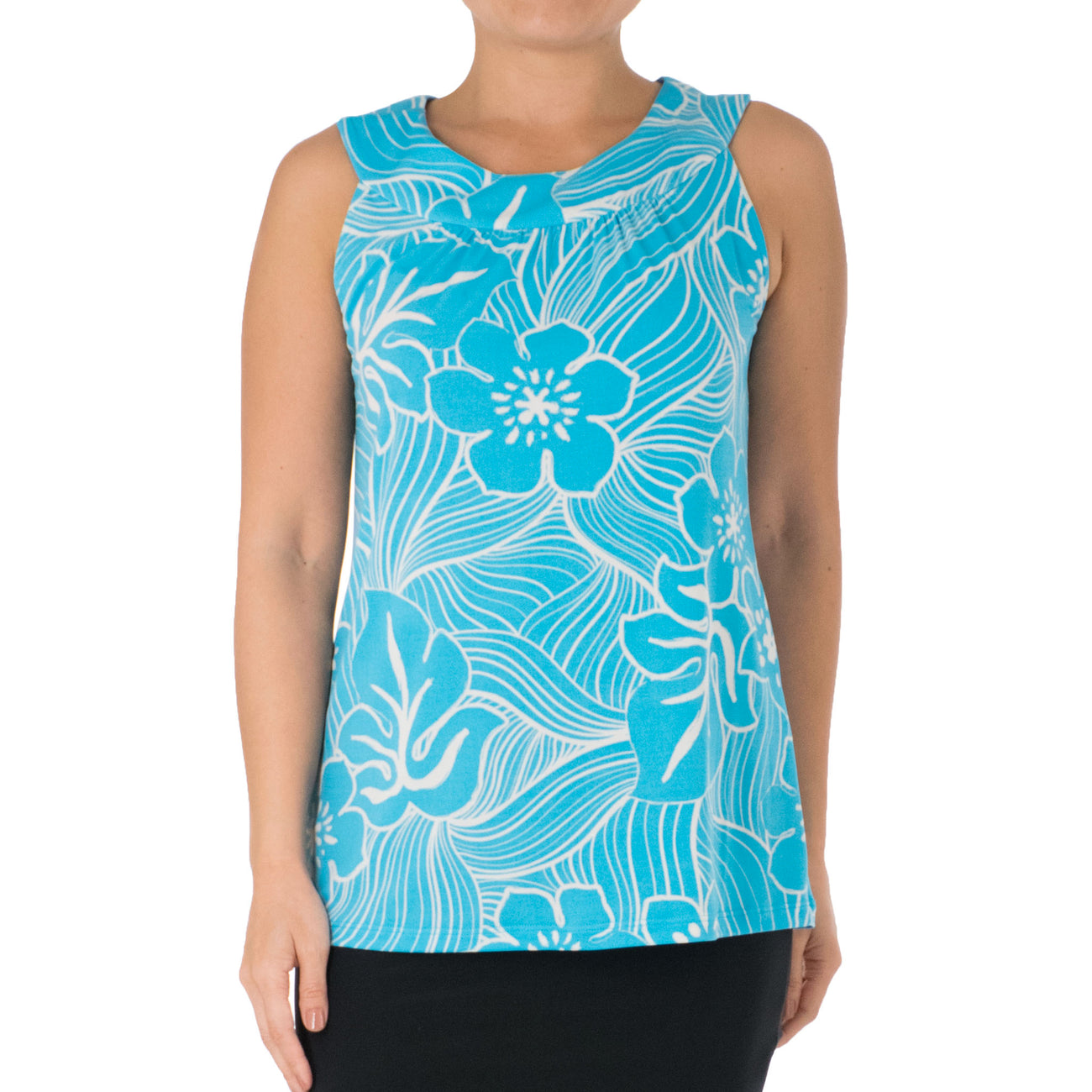 TROPICAL TWIST SLEEVELESS CLEO KNIT TOP
