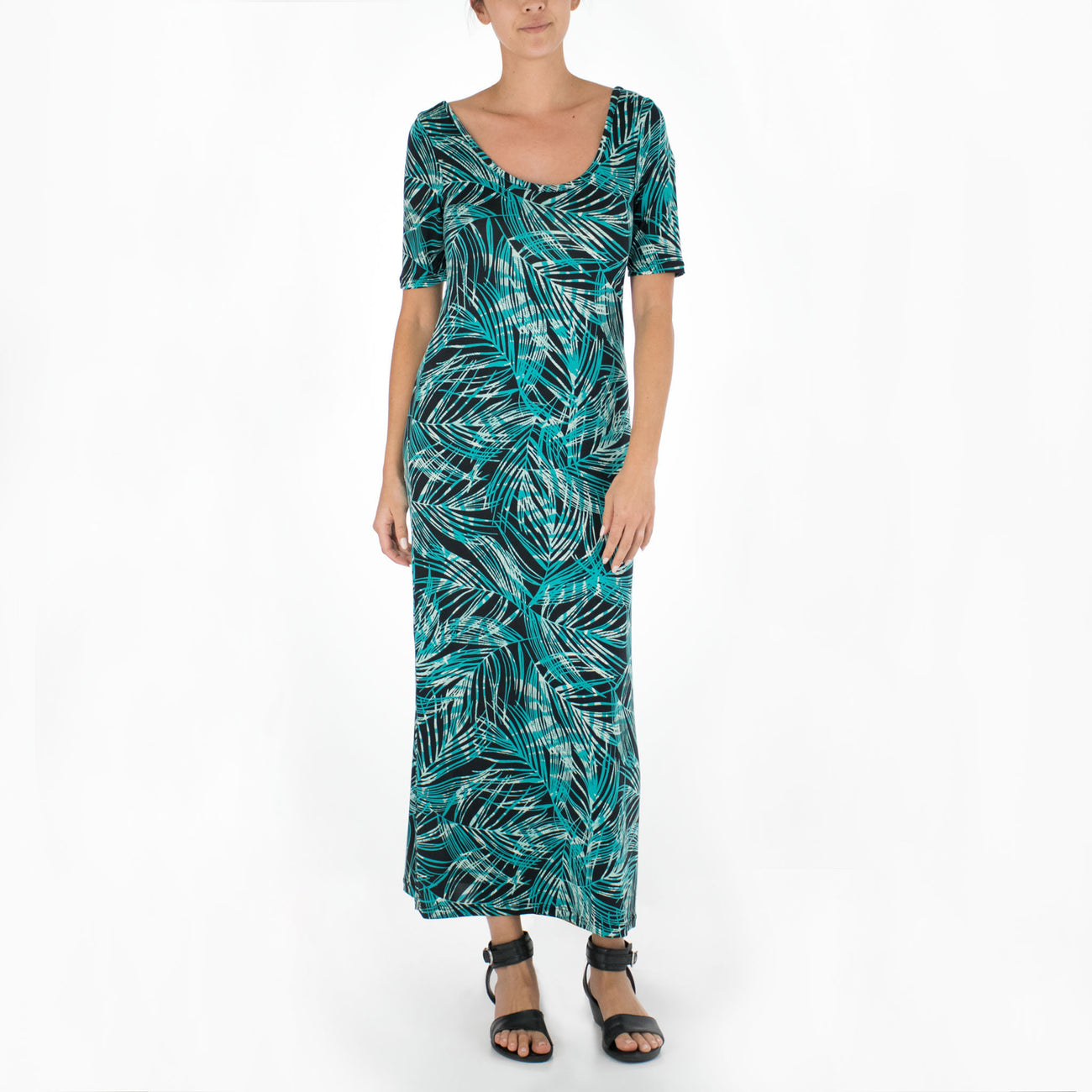 FEATHERED LEAVES LONG SCOOP NECK KNIT DRESS
