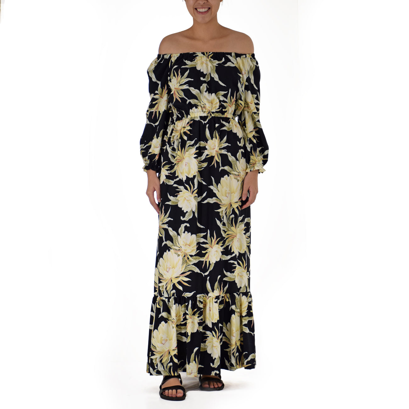 VINTAGE CERES LONG MU'U MU'U WITH RUFFLE & POCKETS