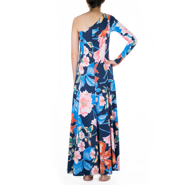 SAKURA ONE SHOULDER HULA DRESS WITH SLEEVE