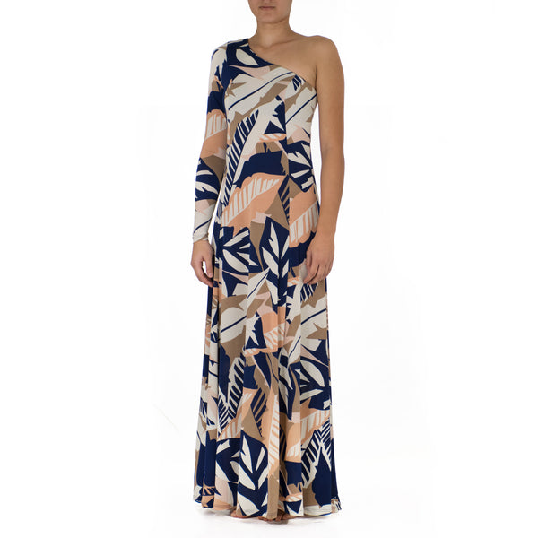 WAI'OLU ONE SHOULDER HULA DRESS WITH SLEEVE