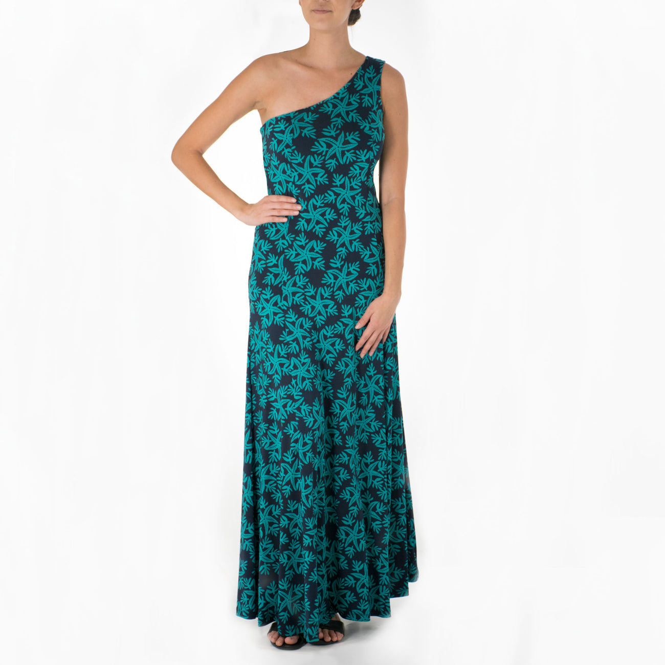 AUKAI ONE SHOULDER HULA DRESS