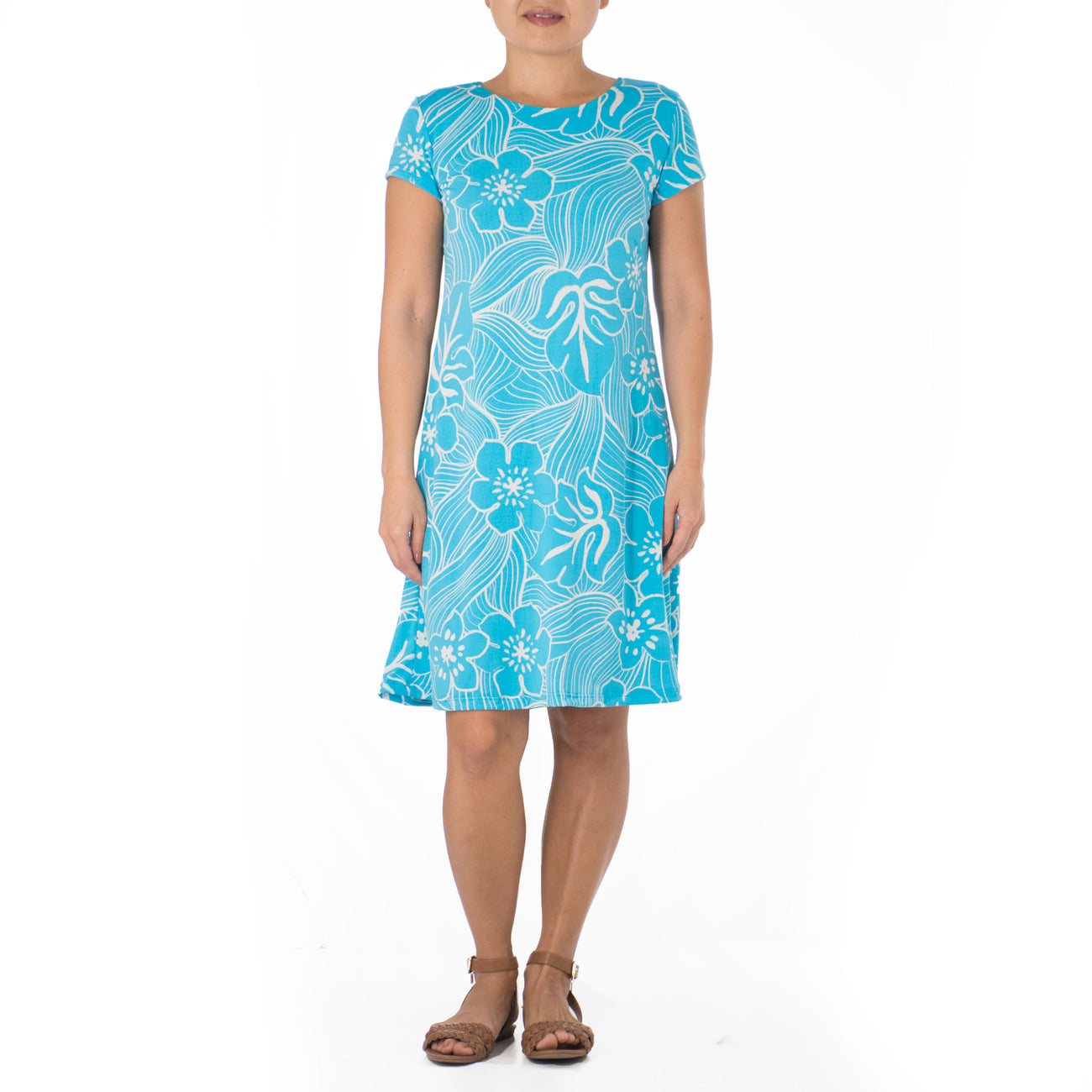 TROPICAL TWIST SHORT CAP-SLEEVE SHEATH KNIT DRESS