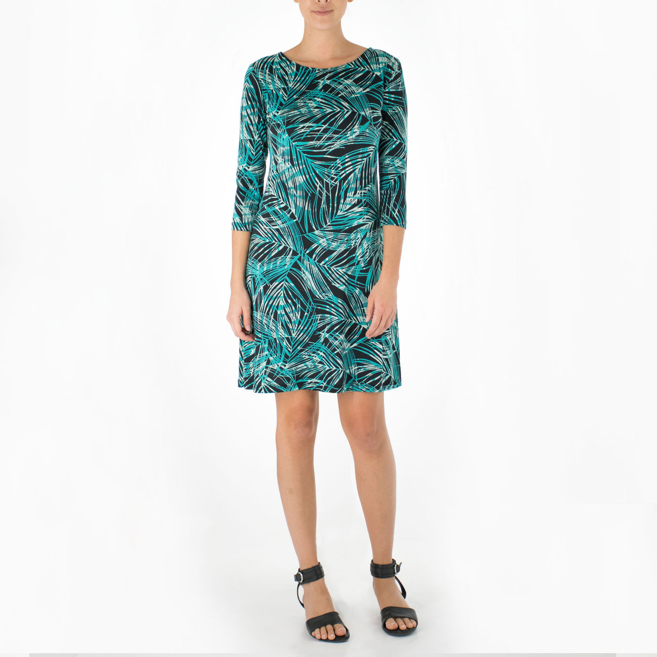 FEATHERED LEAVES SHORT 3/4 SLEEVE SHEATH DRESS