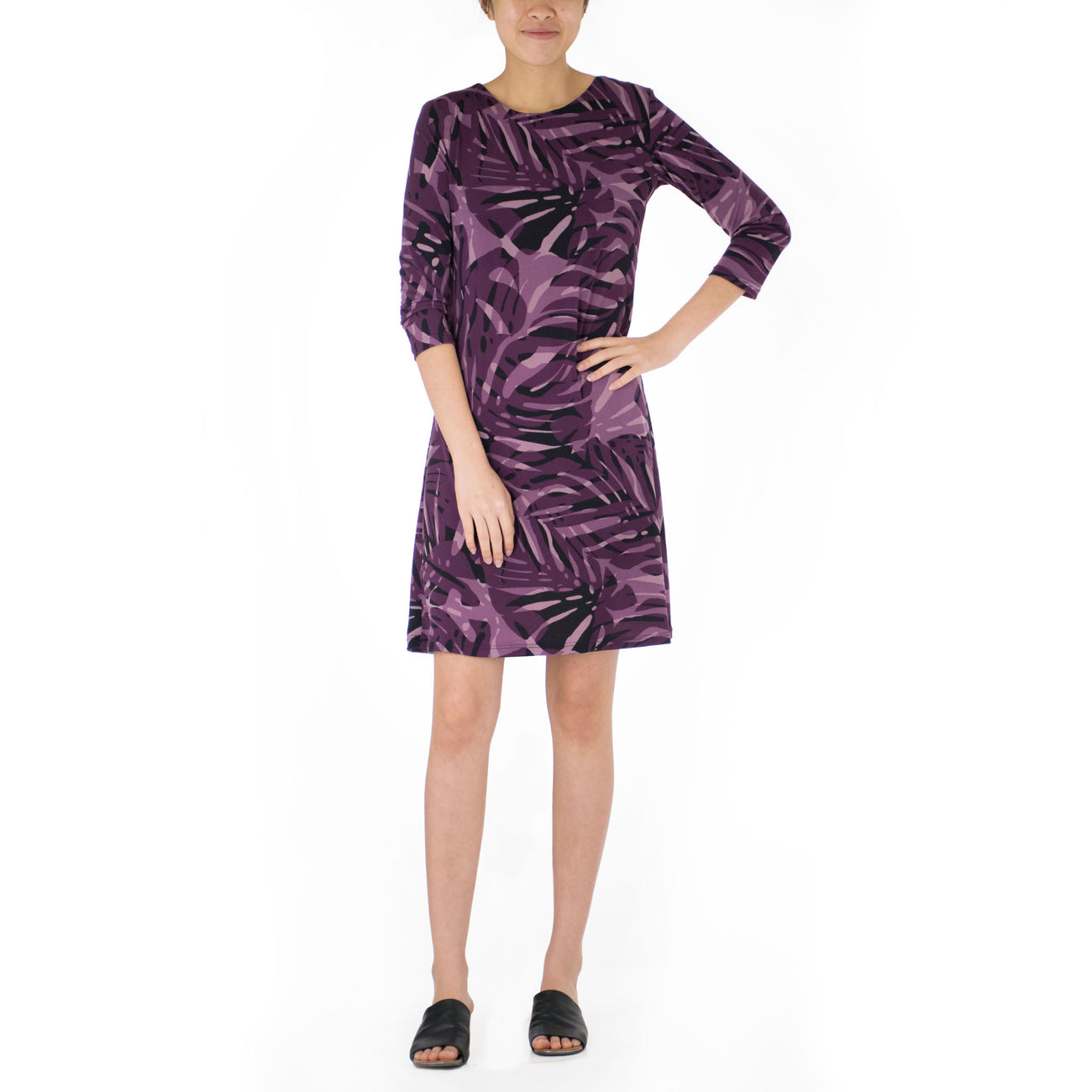 MAIYA SHORT 3/4 SLEEVE SHEATH DRESS