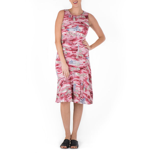 ALOHA TOWER DIAGONAL SLEEVELESS FLOUNCE DRESS
