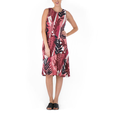 FERN GROTTO DIAGONAL SLEEVELESS FLOUNCE DRESS