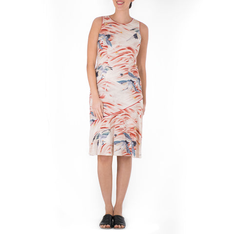'IO BIRD DIAGONAL SLEEVELESS FLOUNCE DRESS