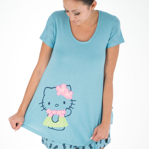 'IOLANI x HELLO KITTY PINE CONTRAST SLEEVE TOP