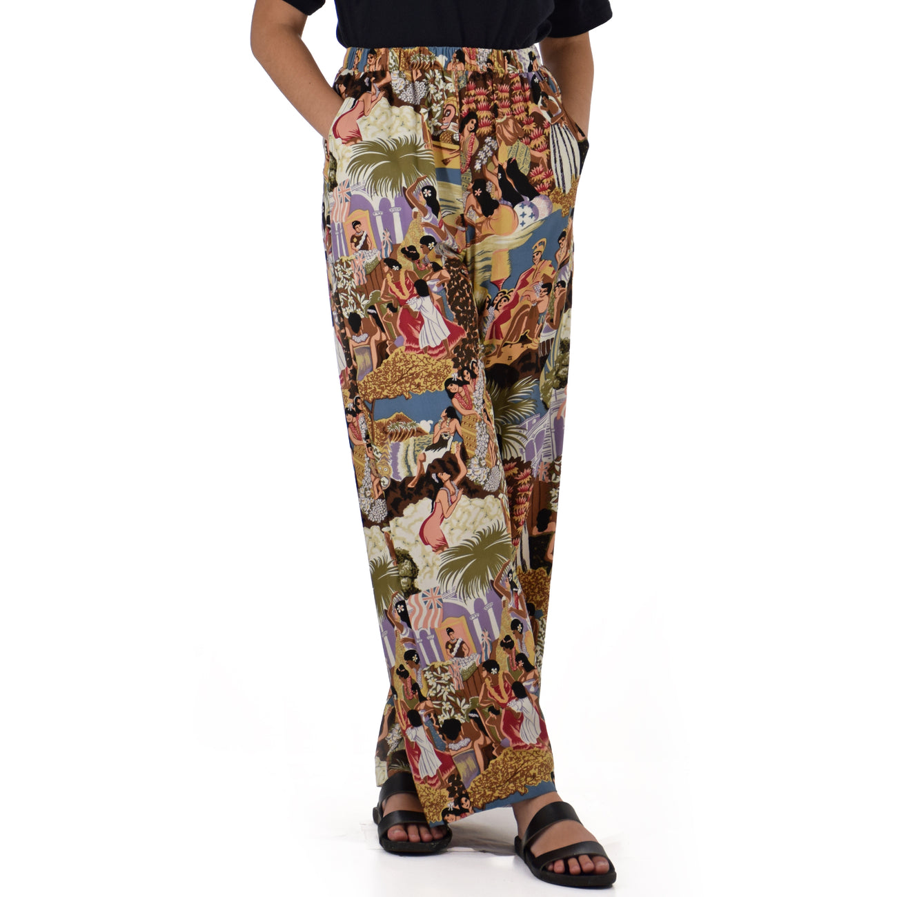'IOLANI ELASTIC WAIST LONG PANT WITH POCKETS w/ Free 'IOLANI Mask