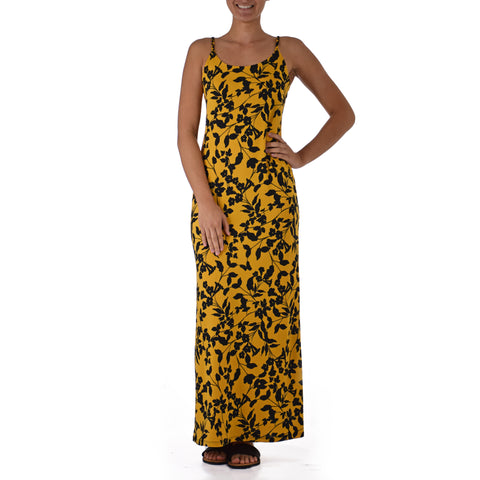 HĀ'ULE LAU STRAP WITH BACK SLIT LONG DRESS