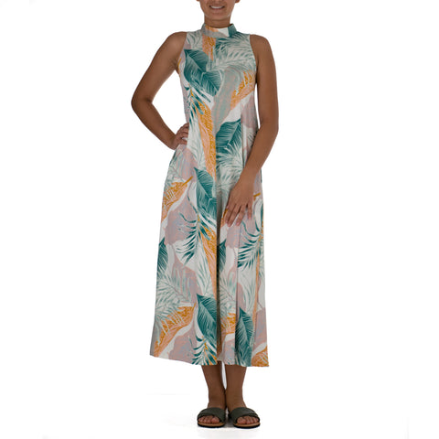 WAILEA SLEEVELESS MANDARIN LONG KNIT DRESS