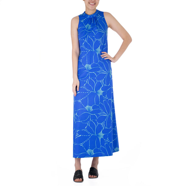 PUANUI SLEEVELESS MANDARIN TIE NECK DRESS