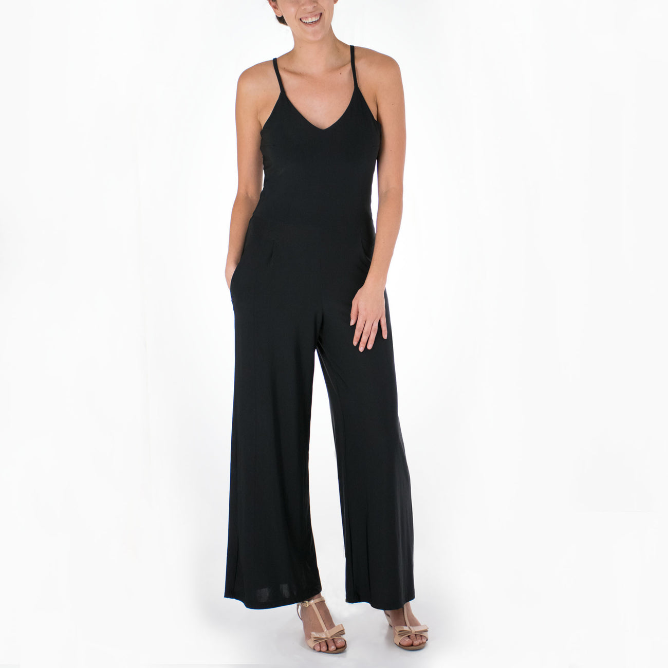 SOLID STRAPPY KNIT JUMPSUIT