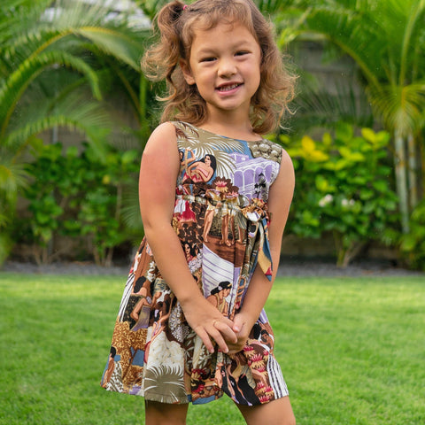 'IOLANI GIRLS SLEEVELESS EMPIRE DRESS w/ Free 'IOLANI Mask