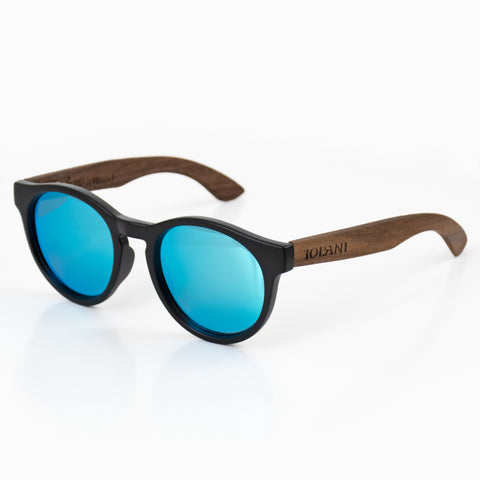 'IOLANI BLUE WALNUT ROUND SUNGLASSES