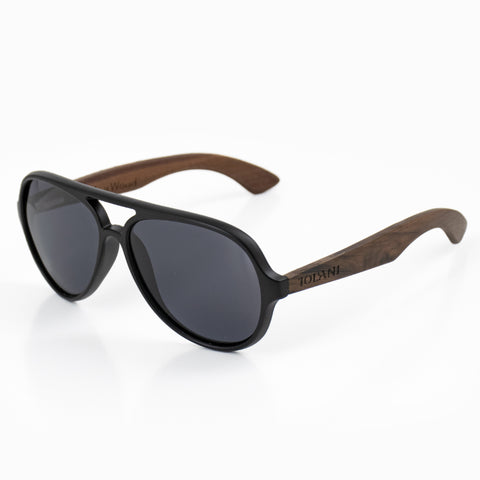 'IOLANI BLACK AVIATOR WALNUT SUNGLASSES