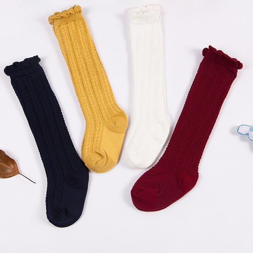 Fall Cable Knit Knee High Baby Socks