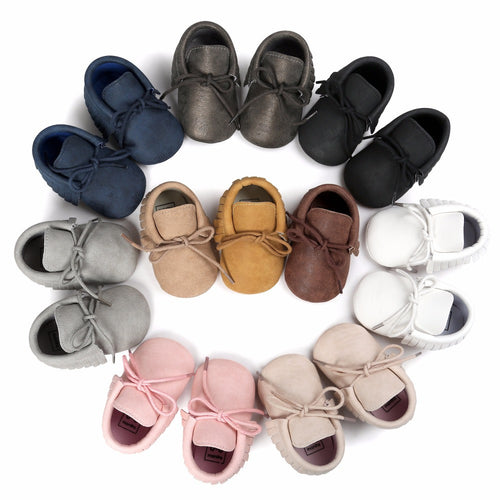 Lace Up Colored Baby Moccasins