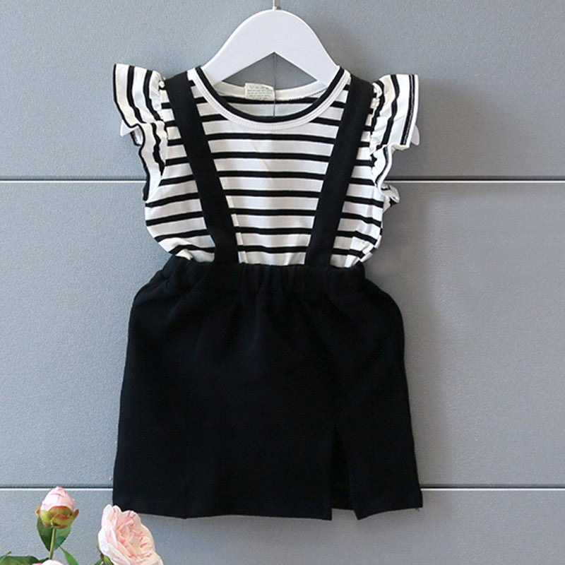 Goldie Striped Black & White Baby Girl Dress