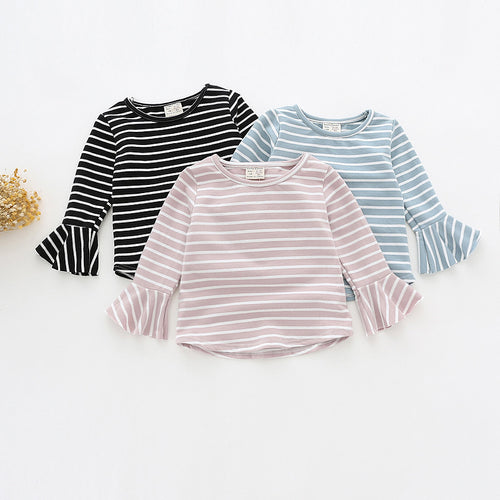 Rowan Bell Long Sleeve Striped Baby Girl Top