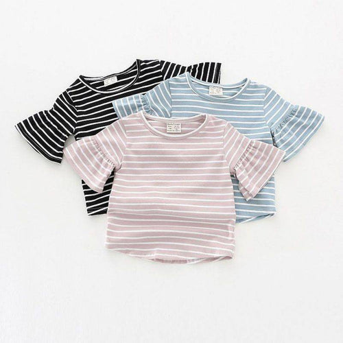 Rowan Bell Short Sleeve Striped Baby Girl Top