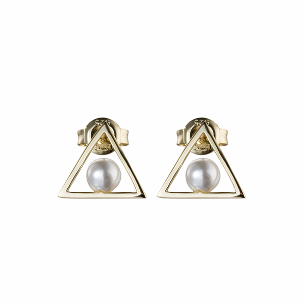 Triangle Pearl Earring Gold