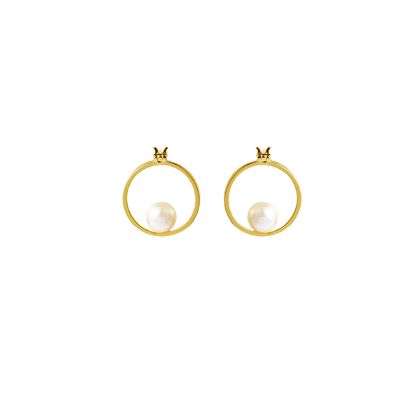 Single Pearl Hoop Earring