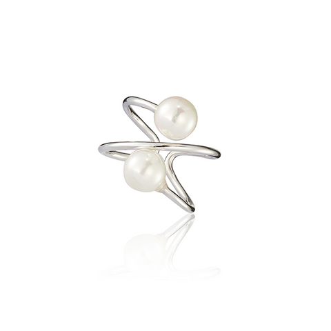 Two Sided Pearl Ring Silver