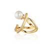 Funny Face Pearl Ring Gold