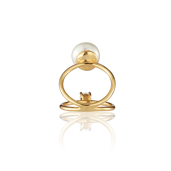 Two In One Pearl Ring Gold