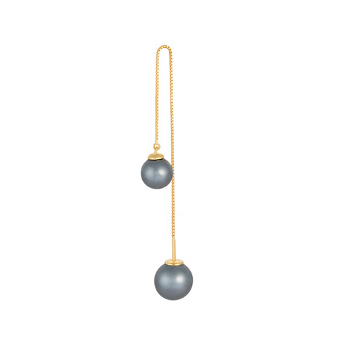 Drop Pearl Earring Black