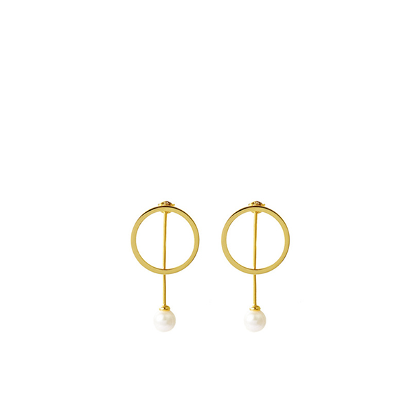 Dripping Circle Pearl Earring