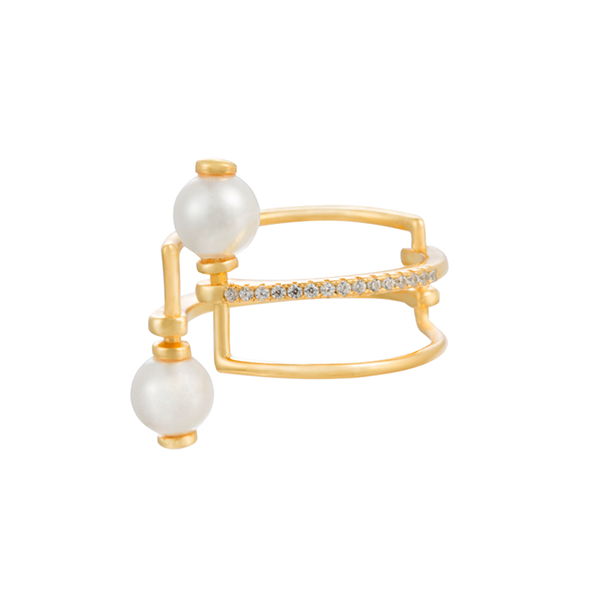 Parallel Bar Pearl Ring