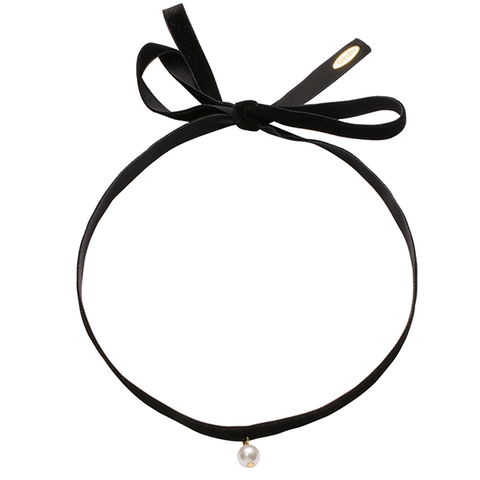 Fine Velvet with single pearl choker Black-GOLD