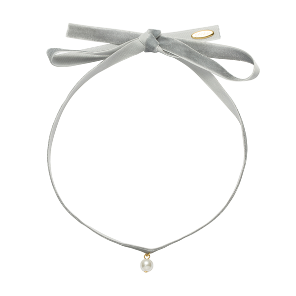 Fine Velvet with single pearl choker Grey-Gold