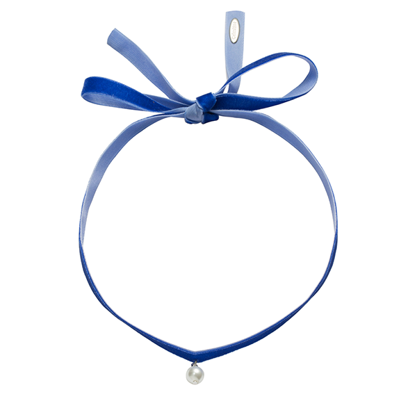 Fine Velvet with single pearl choker blue-SILVER