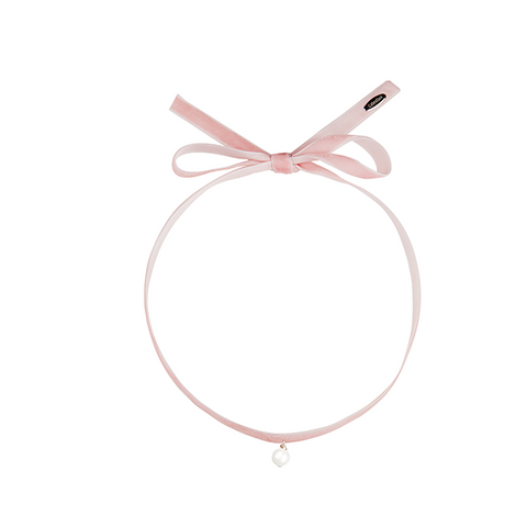 Fine Velvet with single pearl choker pink-SILVER