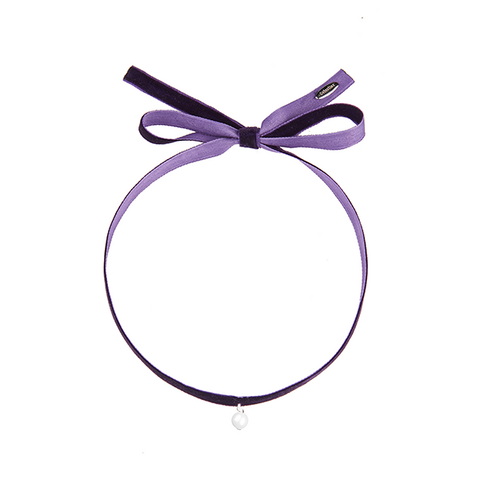 Fine Velvet with single pearl choker purple-SILVER