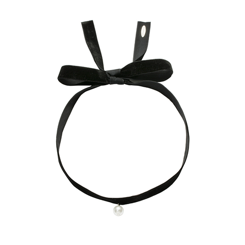 Bold velvet with single pearl choker black-SILVER