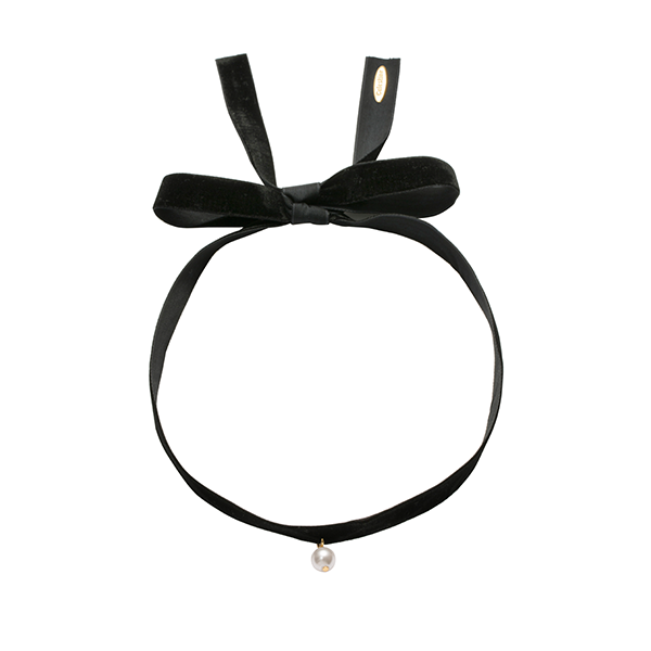 Bold velvet with single pearl choker Black-GOLD