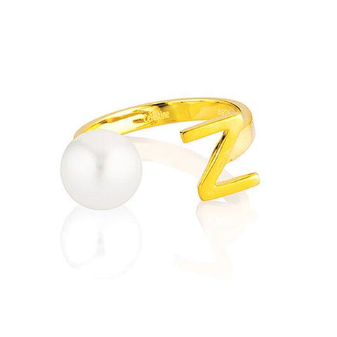Open Letter Pearl Ring Z