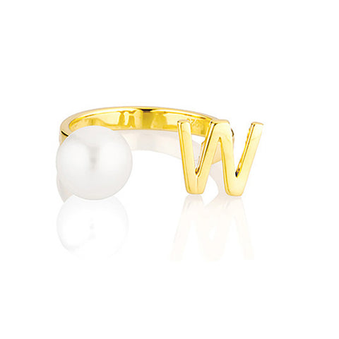 Open Letter Pearl Ring W