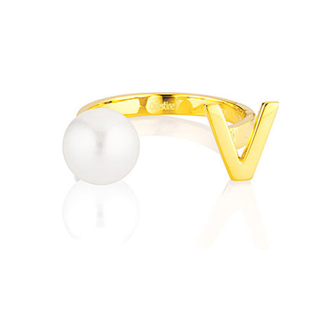 Open Letter Pearl Ring V
