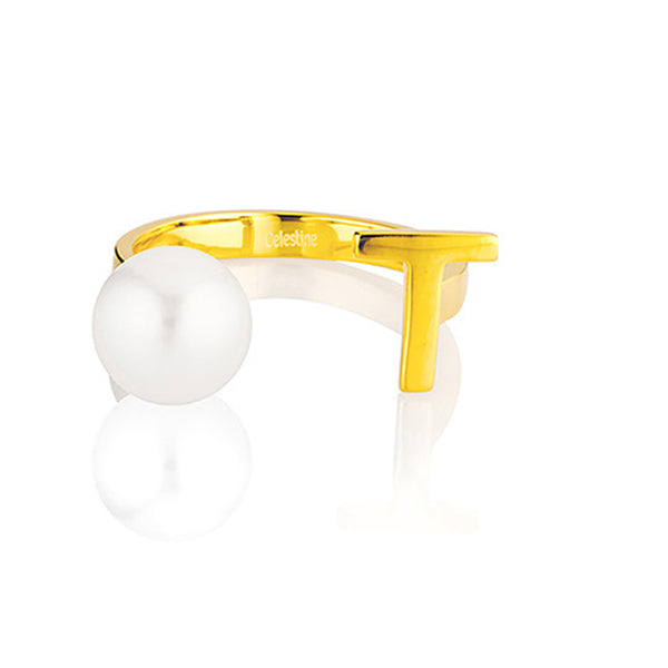 Open Letter Pearl Ring T