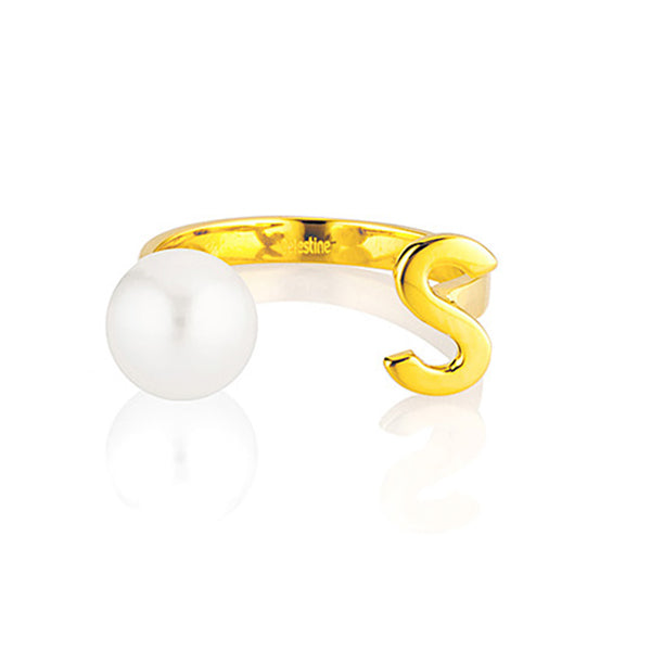 Open Letter Pearl Ring S
