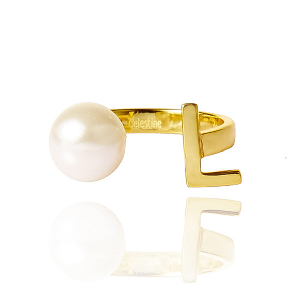 Open Letter Pearl Ring L